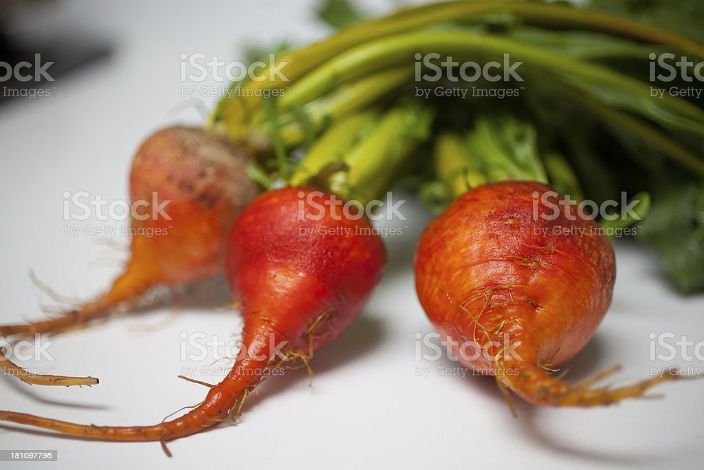 Three golden beets with greens attached royalty-free stock photo