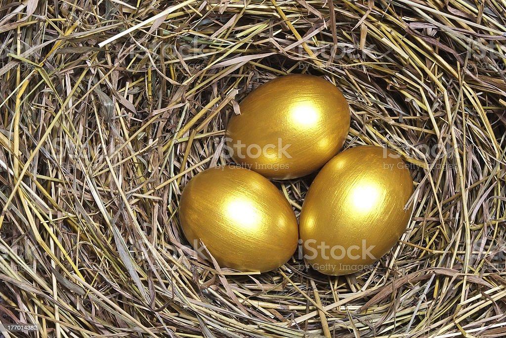Three golden eggs royalty-free stock photo
