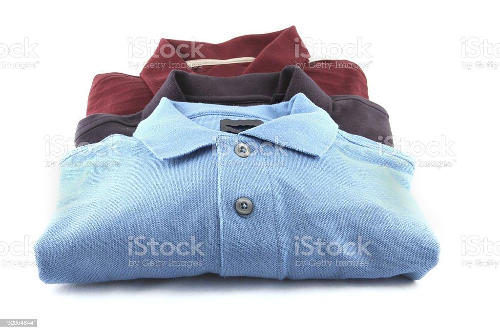 three golf shirts stock photo