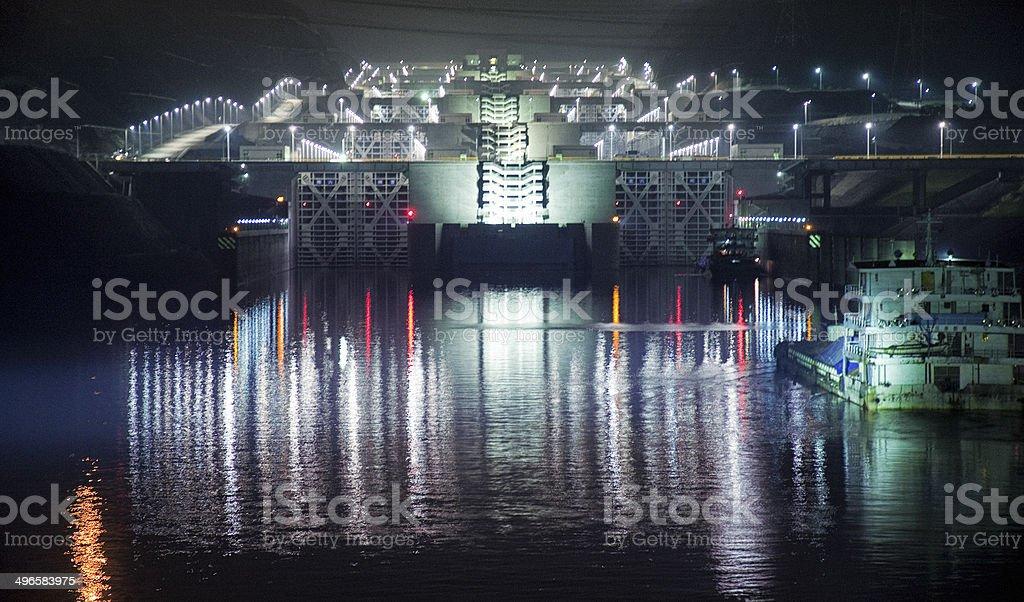 Three Gorges Dam at Night stock photo