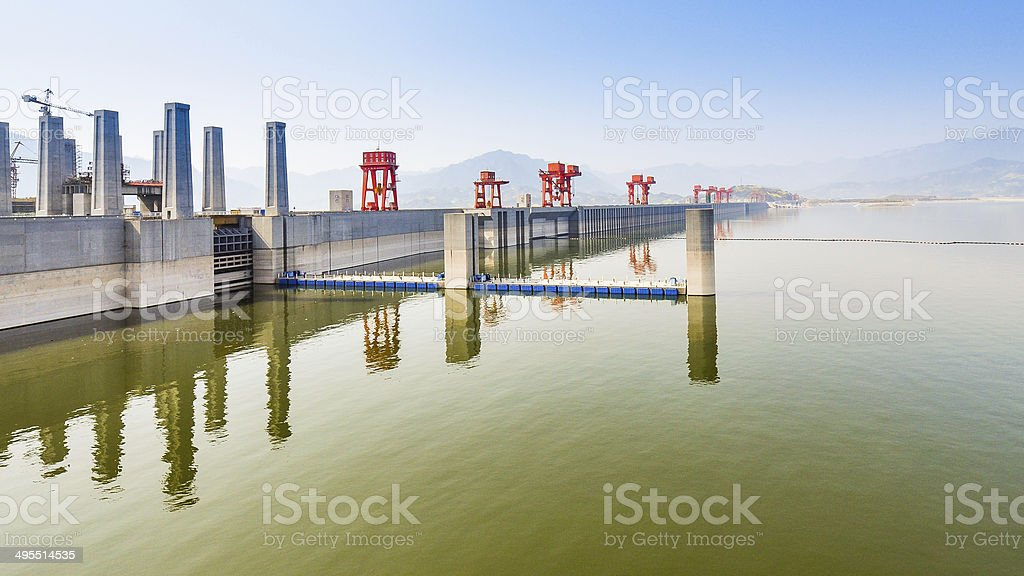 Three Gorges Dam, Lakeside View on a Hazy Morning stock photo