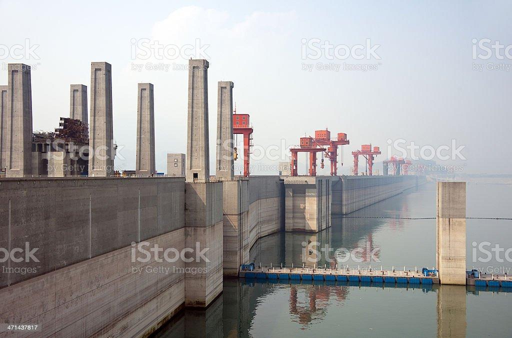 Three Gorges Dam on The Yangtze River stock photo