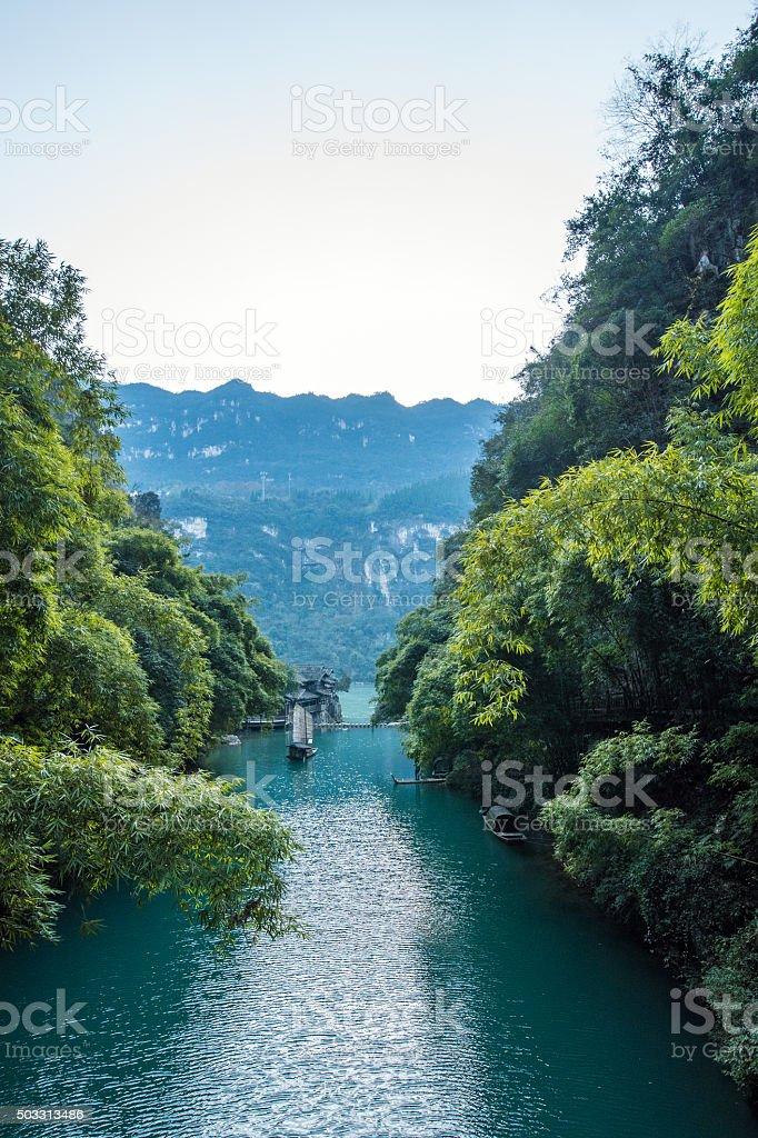 Three Gorges Tribe Scenic Spot along the Yangtze River stock photo