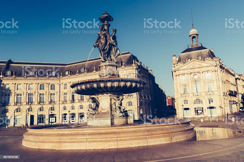 Three Graces statue,  Bourse, Bordeaux stock photo