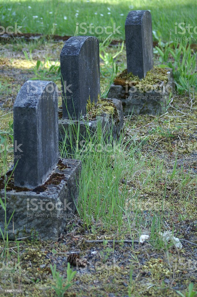 Three Grave Stones royalty-free stock photo