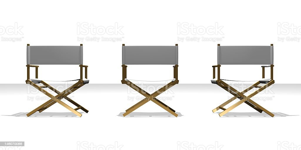 Three gray director chairs on a white background stock photo