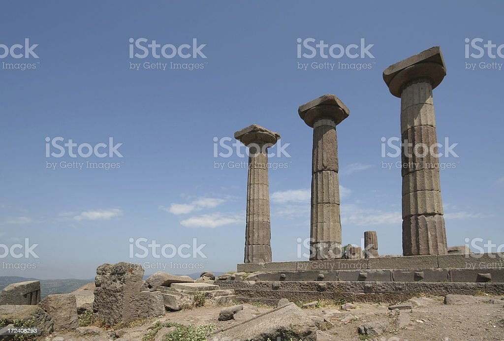 Three Greek Columns stock photo