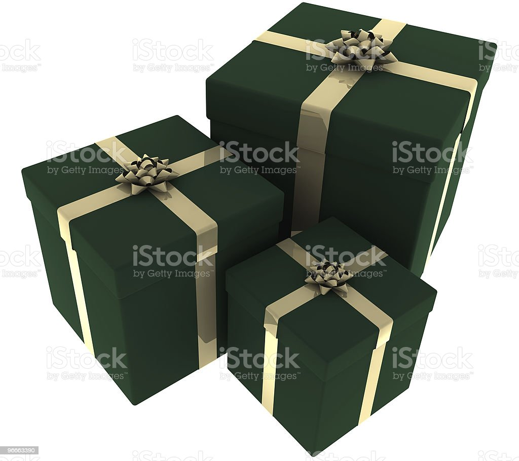 Three Green and Gold Presents royalty-free stock photo