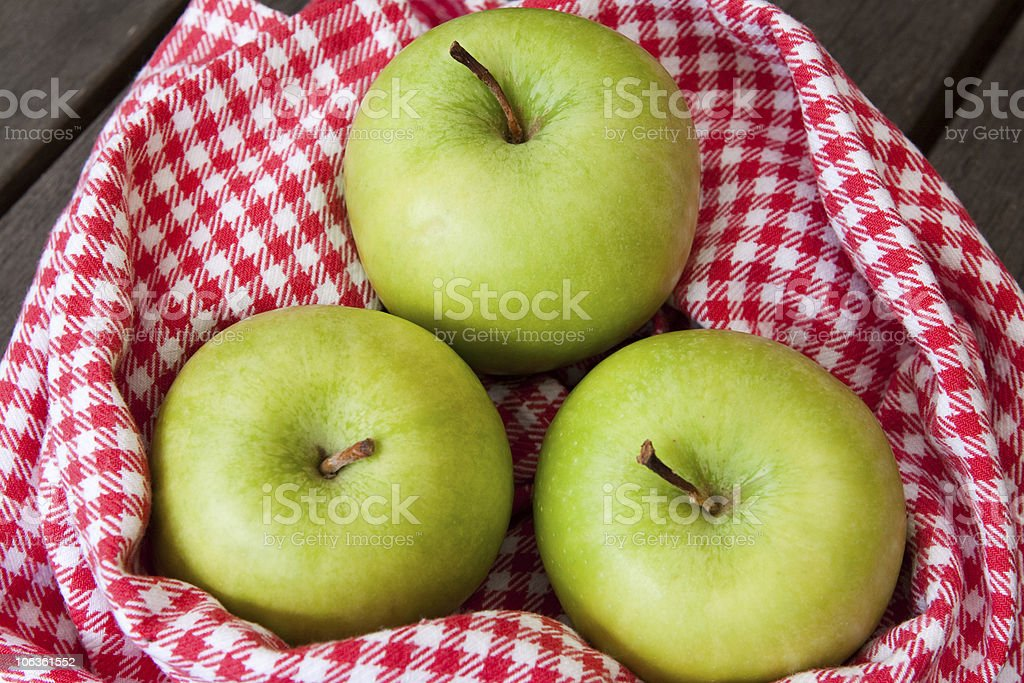 Three green apples from above royalty-free stock photo