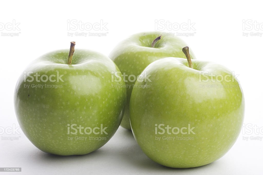 three Green Apples royalty-free stock photo