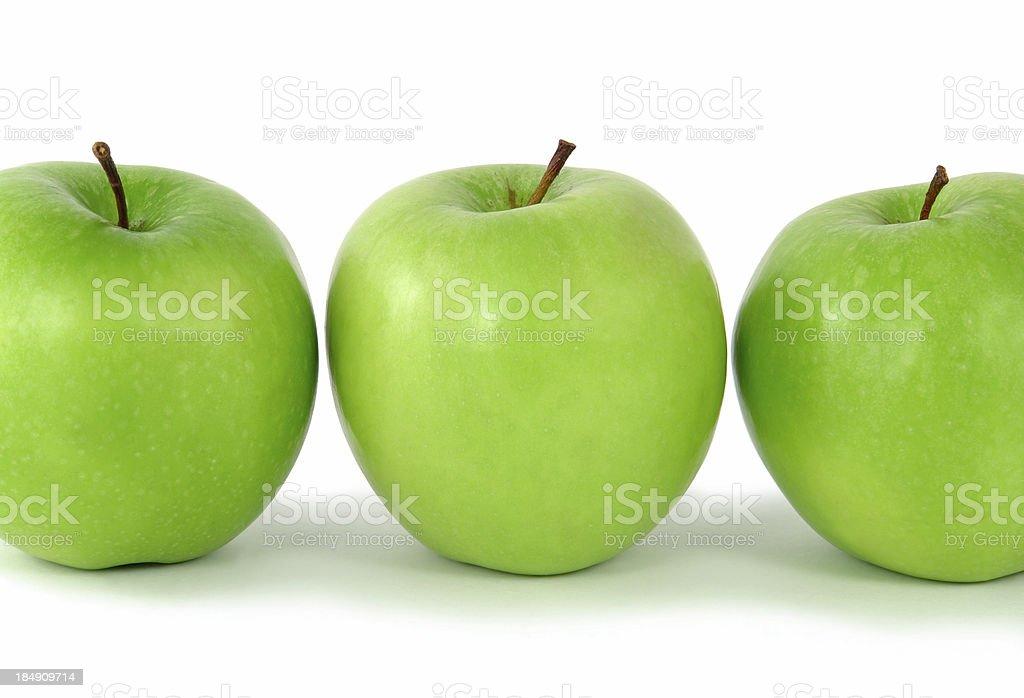 Three green apples royalty-free stock photo