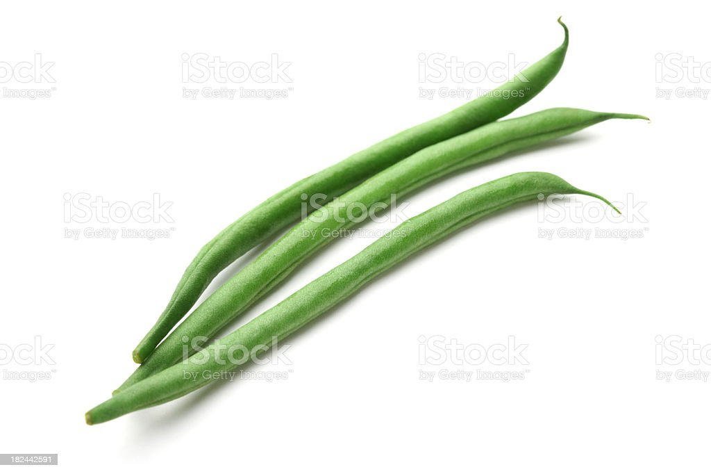 Three green beans isolated on white background stock photo