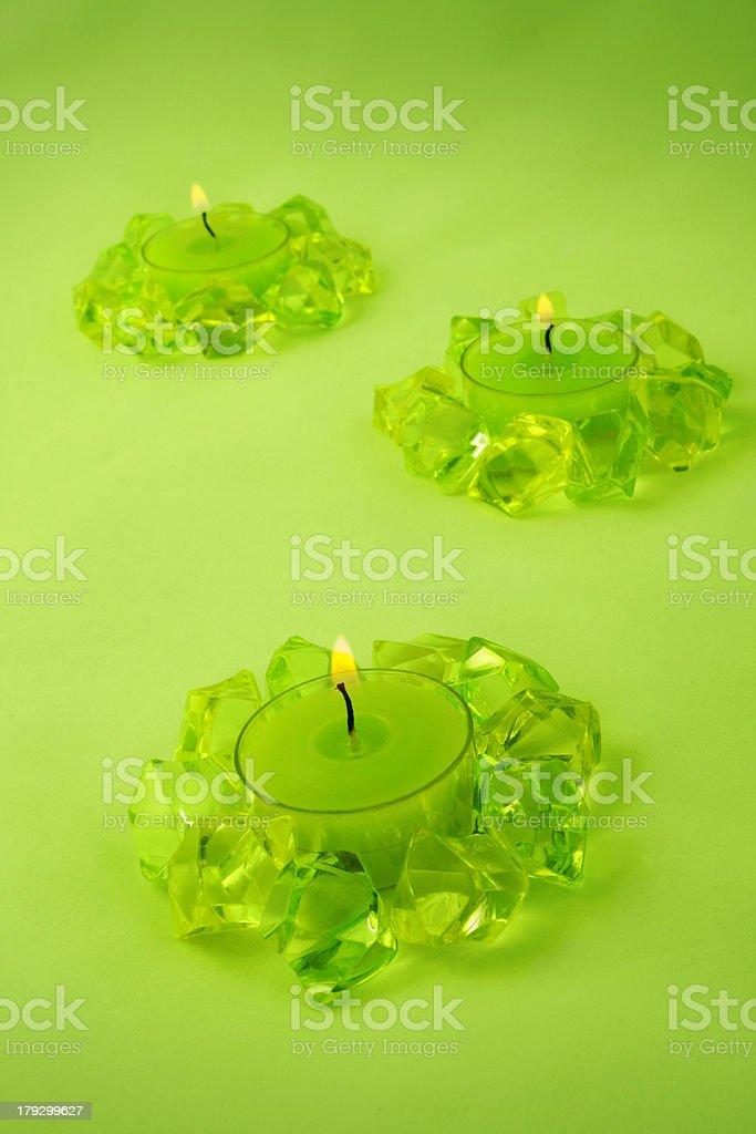 Three green candles royalty-free stock photo