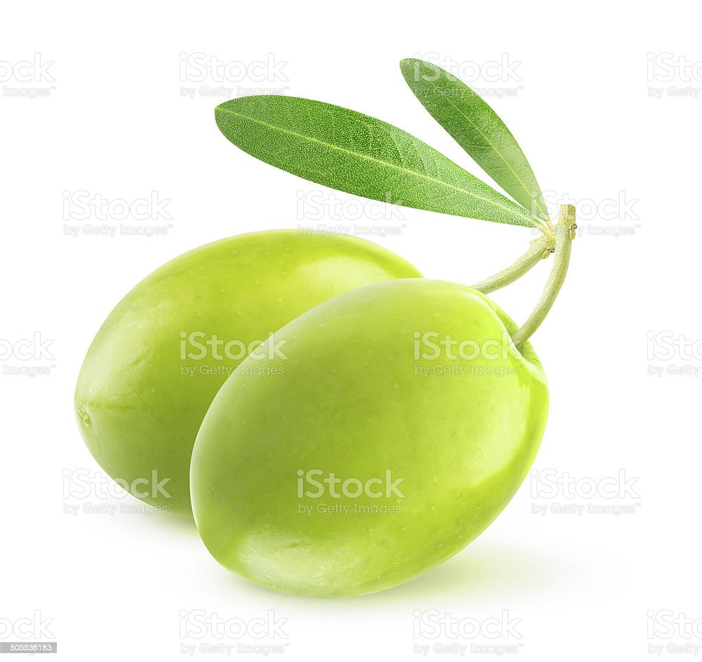 Three green olives with leaves over white background stock photo