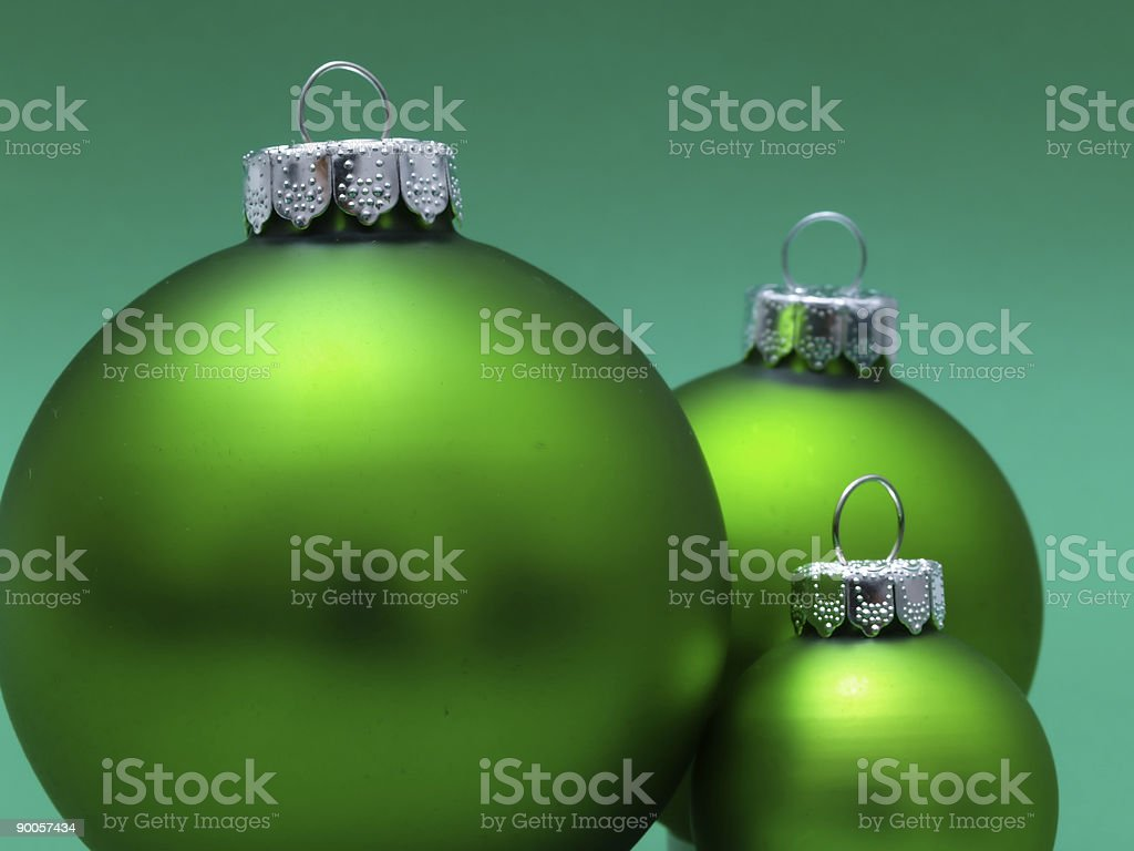 Three Green Ornaments royalty-free stock photo