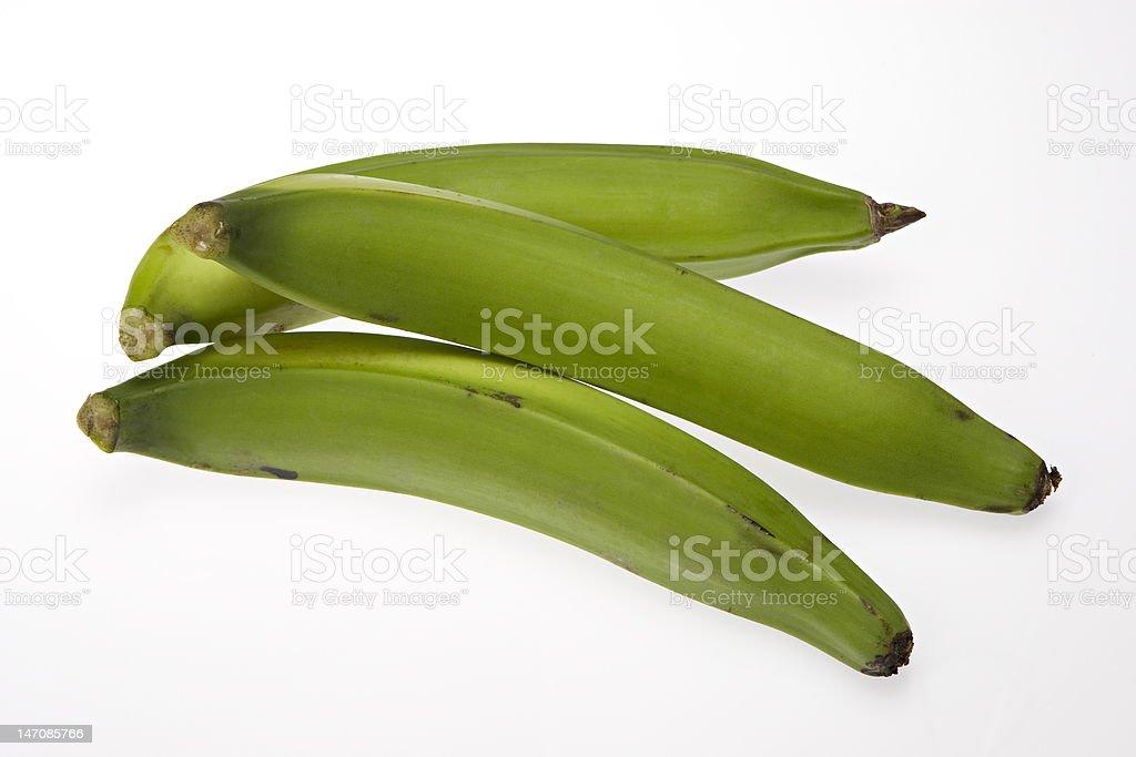 Three Green plantains stock photo