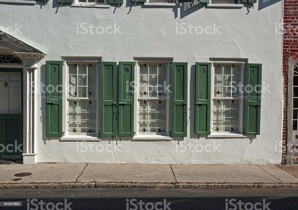 Three Green Windows in a Row royalty-free stock photo