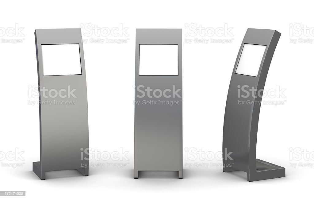 Three grey information centers stock photo