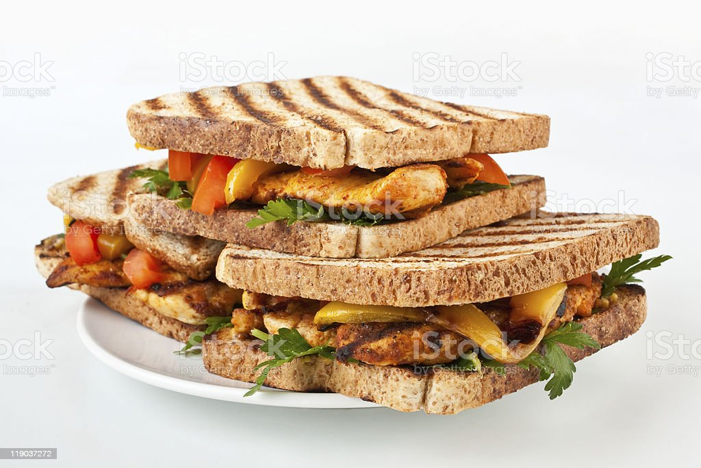three grilled chicken ( turkey )  sandwiches royalty-free stock photo