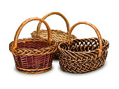 Three grocery baskets from rods