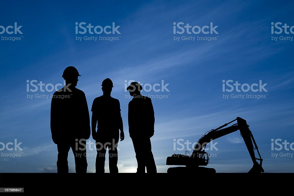 Three Guys at a Construction Site stock photo