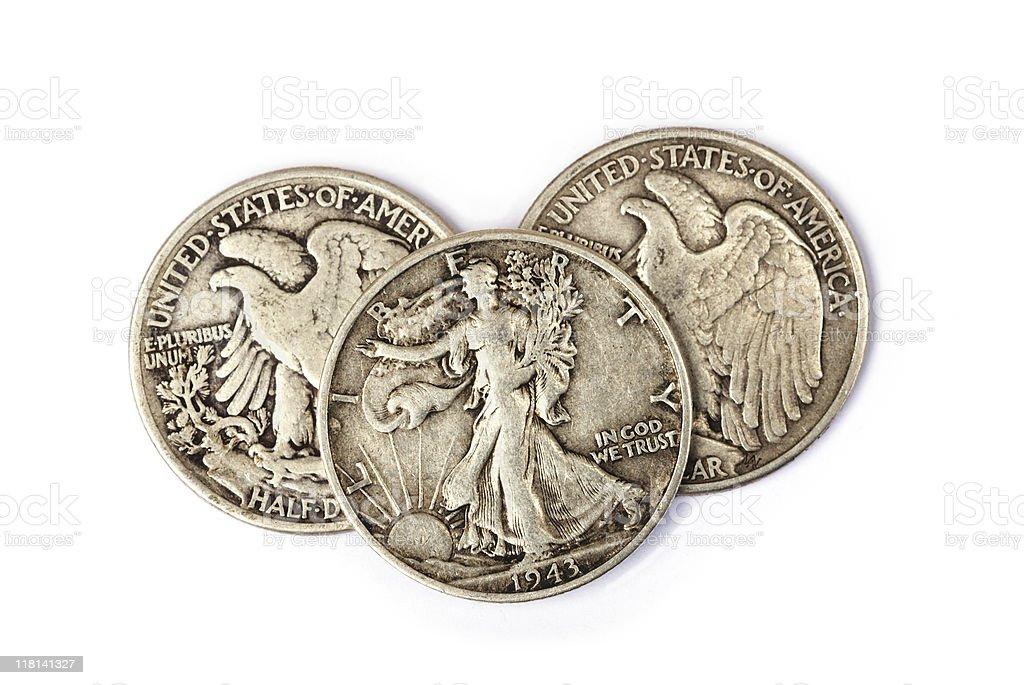 Three half dollars with Walking Liberty figure stock photo