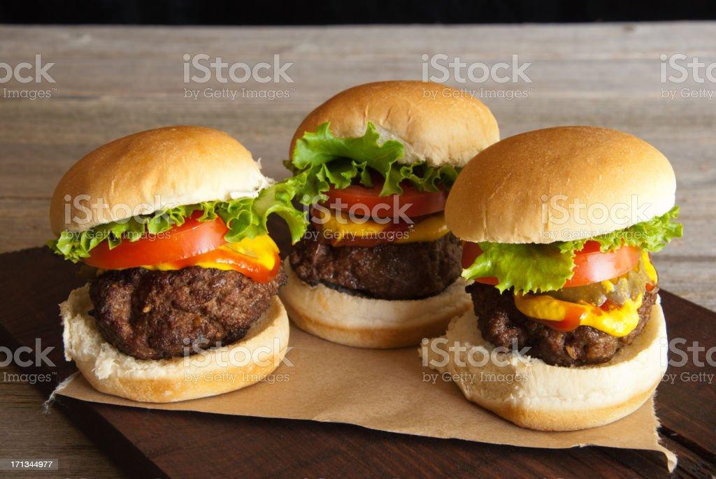 Three Hamburger Sliders stock photo