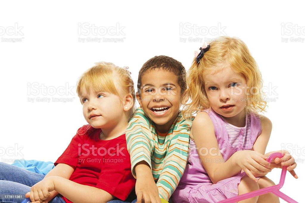 Three happy 5 years old kid royalty-free stock photo