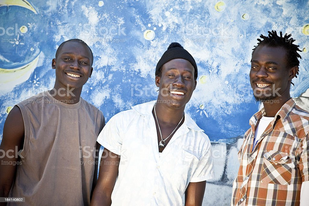 Three Happy Africans Friends royalty-free stock photo