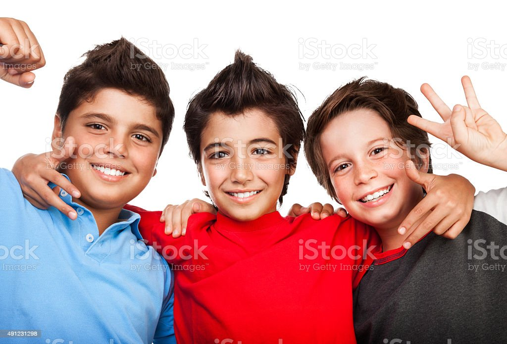 Three happy boys stock photo