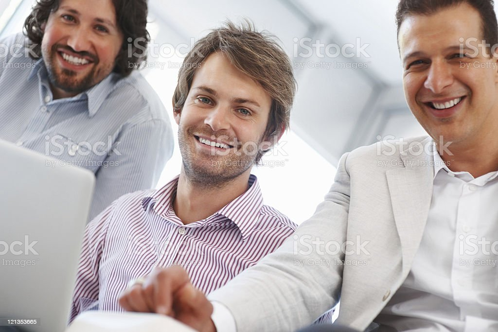 Three happy business people royalty-free stock photo