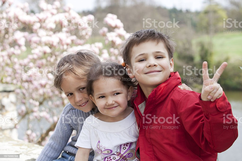 Three happy children royalty-free stock photo