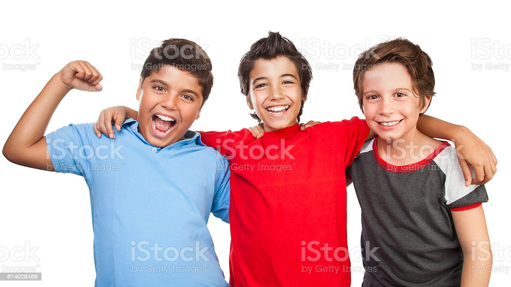Three happy friends stock photo