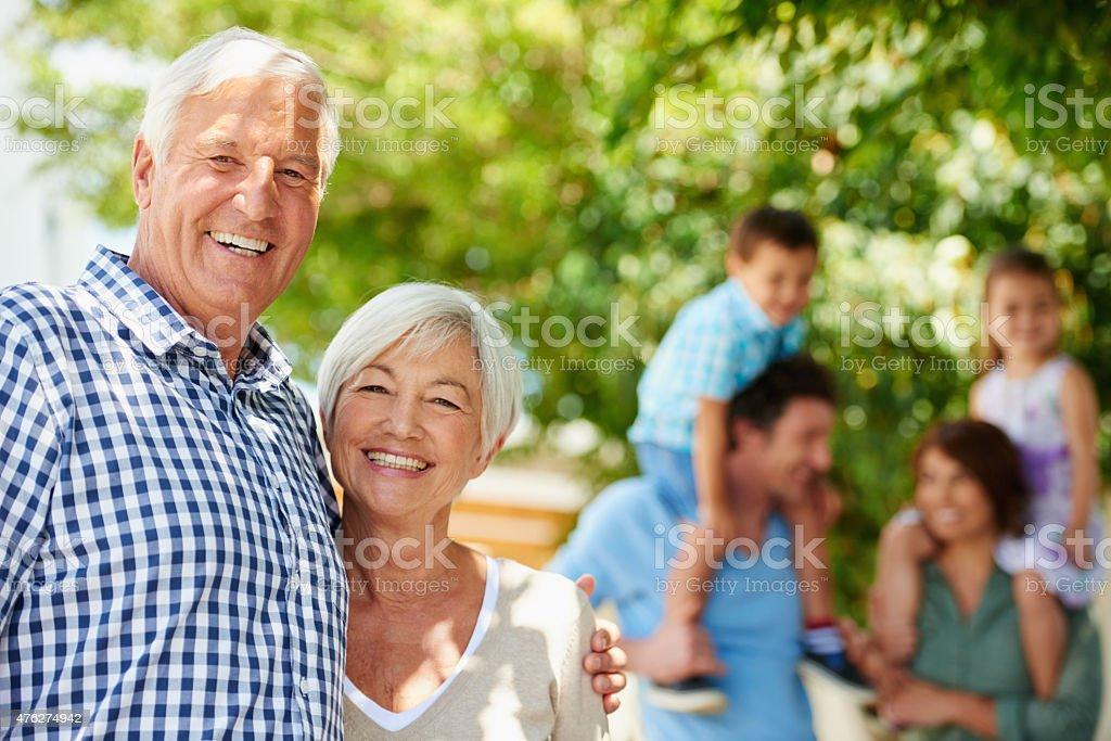 Three happy generations stock photo