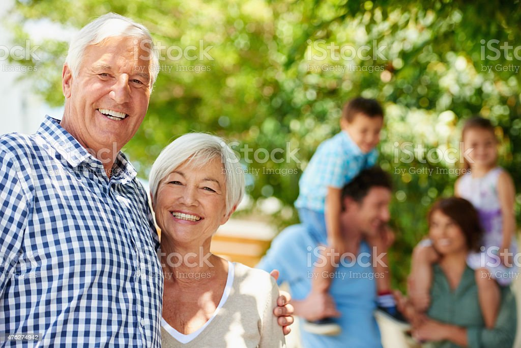 Three happy generations stock photo