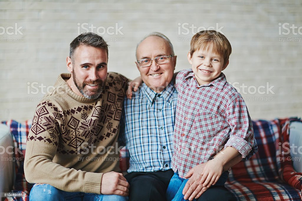 Three happy men stock photo