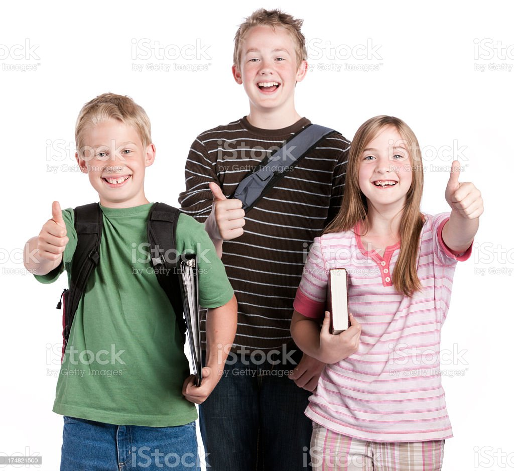 Three Happy School Students Thumbs Up royalty-free stock photo