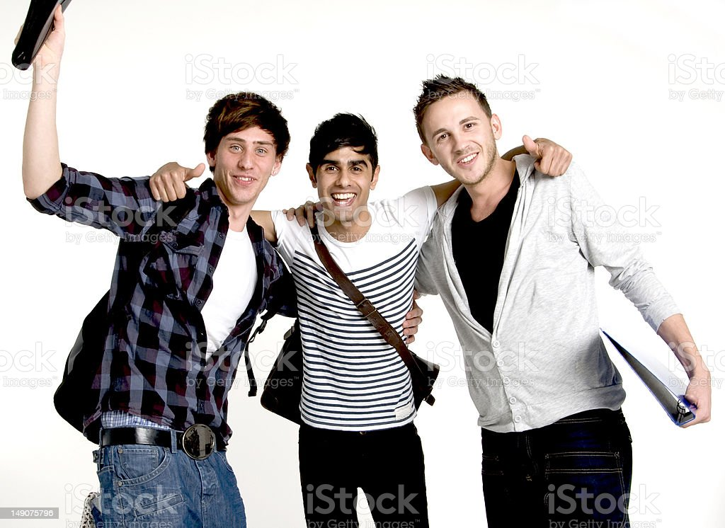 Three Happy  Students royalty-free stock photo