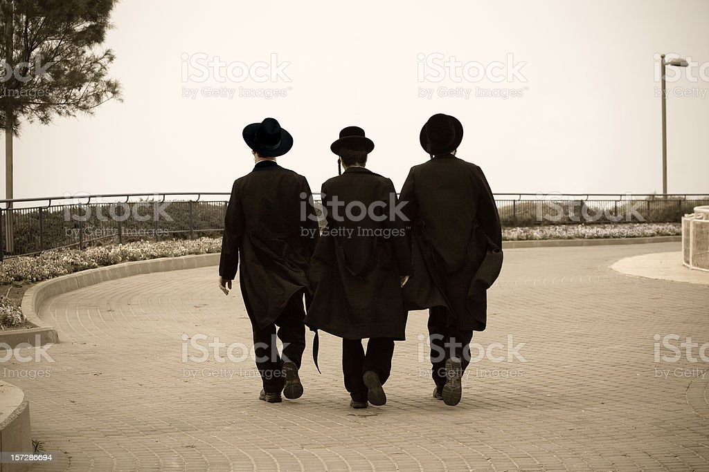 Three Hasidic Jews stock photo