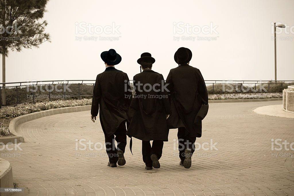 Three Hasidic Jews stock photo
