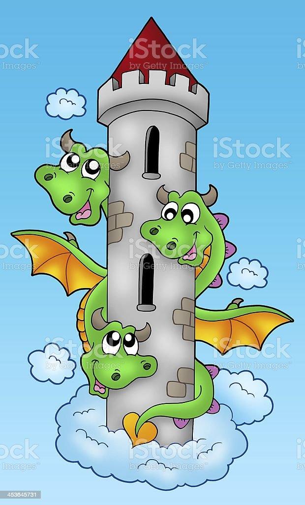 Three headed dragon on sky stock photo