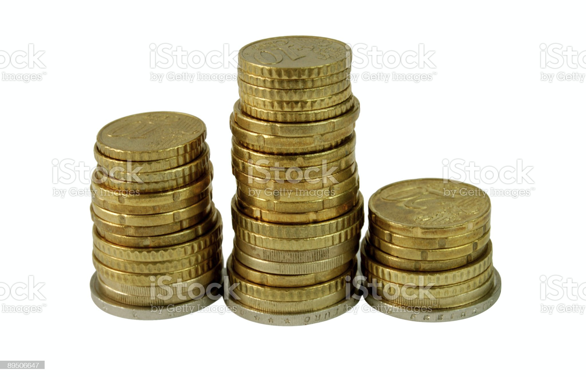 three heaps of coins royalty-free stock photo