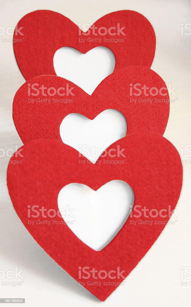 Three hearts in line royalty-free stock photo