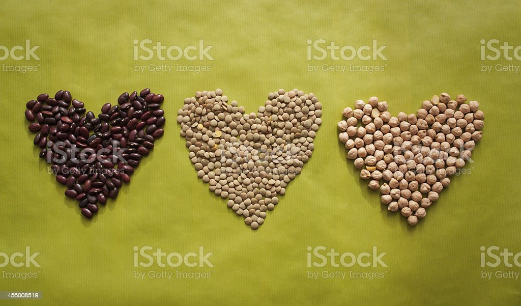 Three hearts made of beans, lentils and cheakpea royalty-free stock photo
