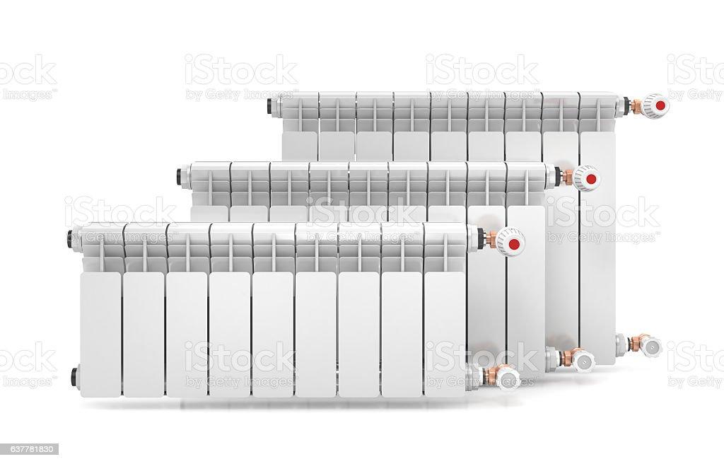Three heating radiators isolated on white background. 3d illustration stock photo