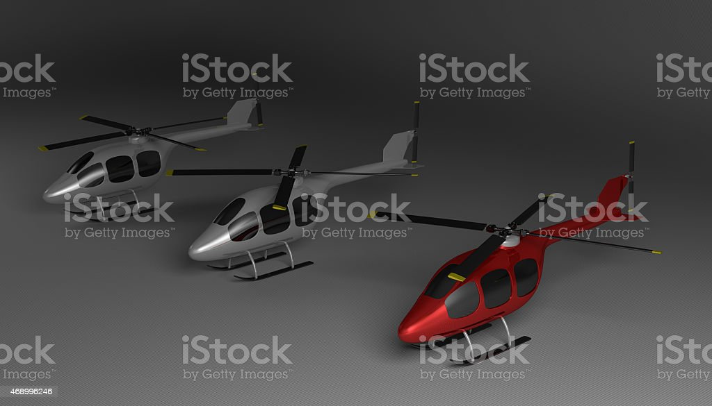 Three helicopters on gray stock photo