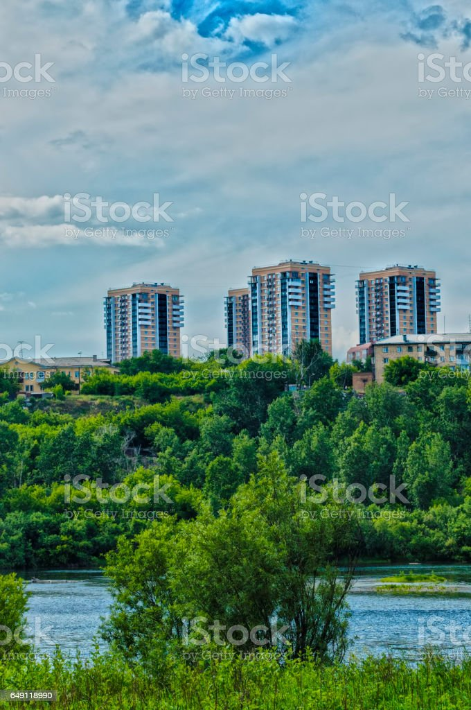 three high buildings stock photo