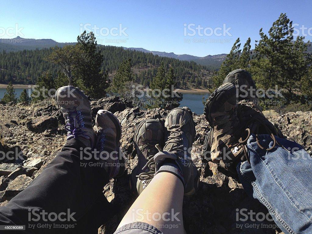 Three Hikers royalty-free stock photo