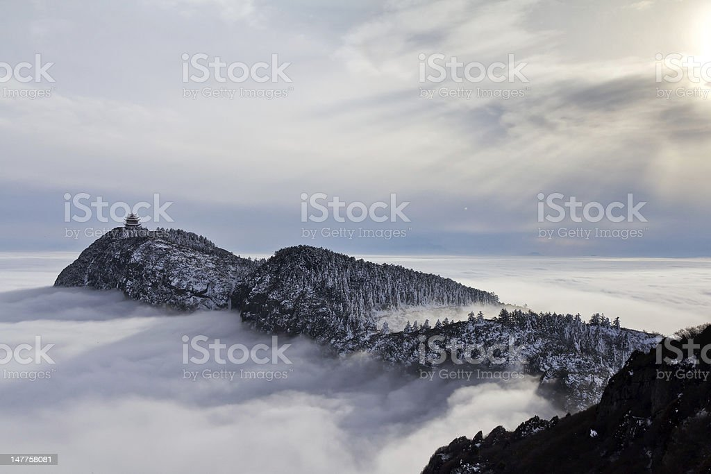 Three hills in the cloud sea stock photo