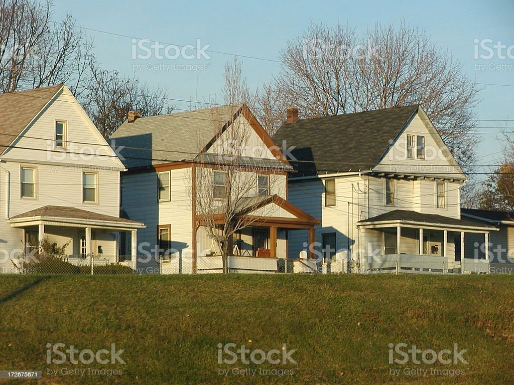 three homes in Akron stock photo